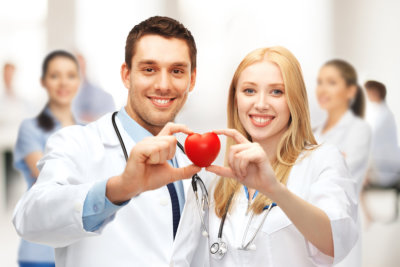 Cardiologists with heart.