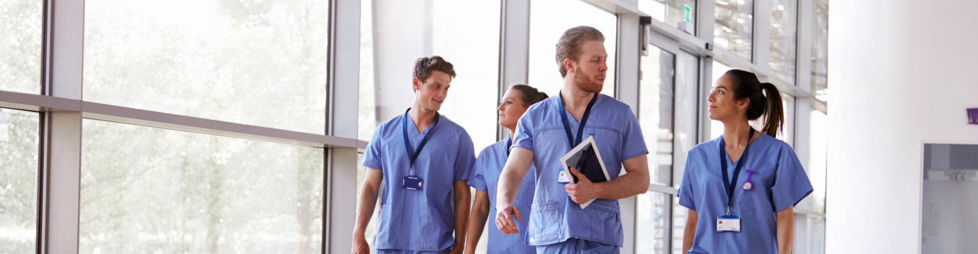 nurses walking on the hospital hall